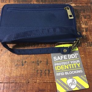 Traveling navy blue wallet identity protection